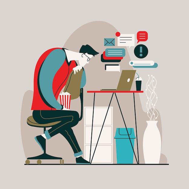 Mężczyzna Ogląda Filmy Zamiast Pracować Darmowych Wektorów