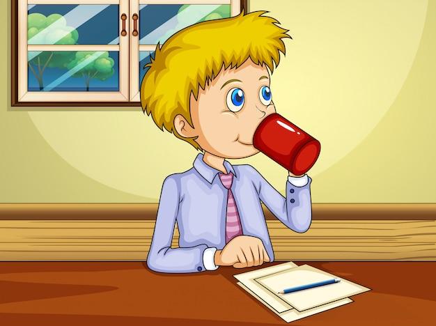 Mężczyzna Pijący Podczas Składania Raportu Darmowych Wektorów
