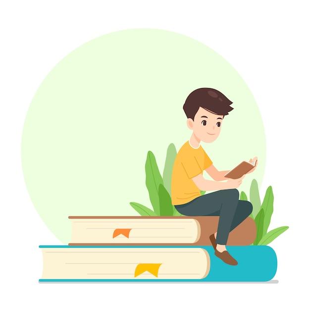 Mężczyzna postać czytanie książki, siedząc na gigantyczne książki Premium Wektorów