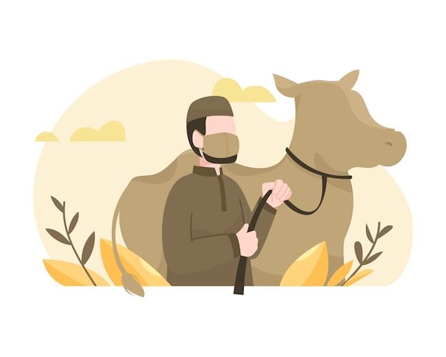 Mężczyzna Poświęca Krowę, Aby Uczcić Ilustrację Id Al-adha Premium Wektorów