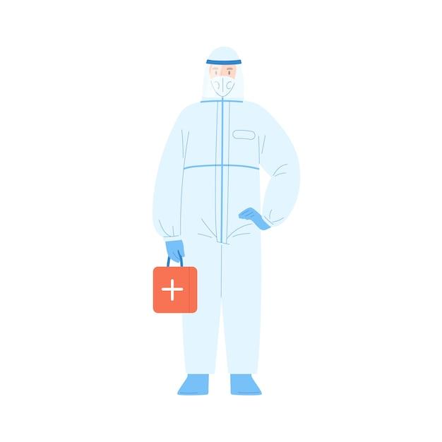 Mężczyzna Pracownik Medyczny W Kostiumie Ochronnym I Ilustracji Wektorowych Maski. Mężczyzna Lekarz Ubrany W Mundur Bezpieczeństwa Trzymając Zestaw Pomocy Na Białym Tle Premium Wektorów