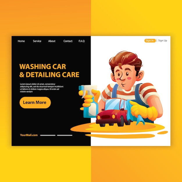 Mężczyzna pracownik mycie samochodu i usługi opisywania Premium Wektorów