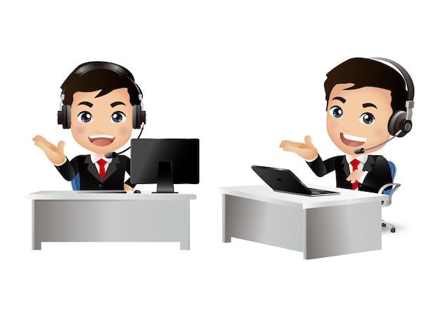 Mężczyzna Pracownik W Obsłudze Klienta Premium Wektorów