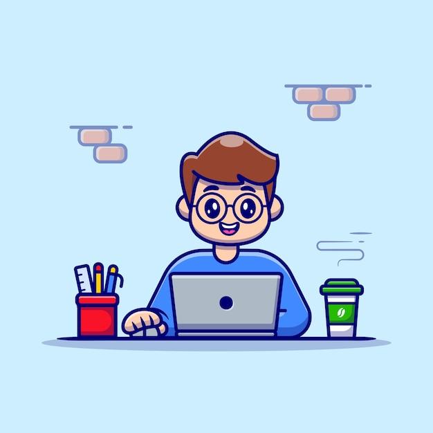 Mężczyzna Pracujący Na Laptopie Z Kawą I Stacjonarne Ilustracja Wektorowa Cartoon. Darmowych Wektorów