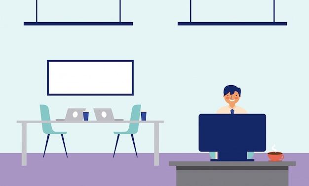 Mężczyzna pracujący w biurze z biurkiem i tablicą Darmowych Wektorów