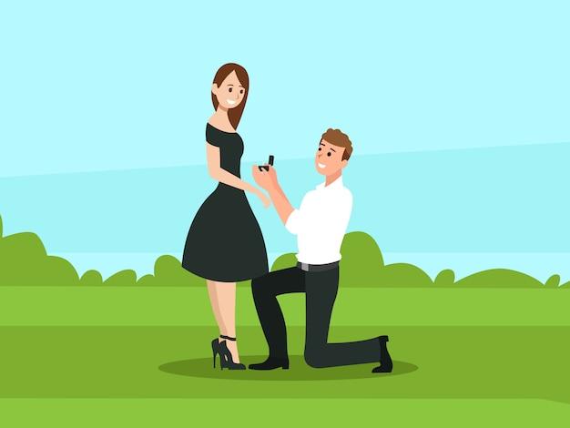 Mężczyzna proponuje kobiecie, by za niego wyszła Premium Wektorów