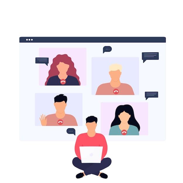 Mężczyzna Prowadzący Rozmowę Wideo Ze Współpracownikiem Zdalnie Pracującym Online Z Domu Premium Wektorów