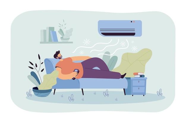 Mężczyzna Relaksujący Się Na Kanapie Pod Strumieniem Zimnego Powietrza Z Odżywki. Ilustracja Kreskówka Darmowych Wektorów