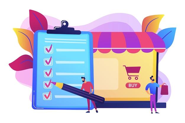 Mężczyzna Robi Zakupy Z Listy Zakupów. Klient Z Pakietem, Kupujący Towar. Umowa Kupna, Zakup W Aplikacji, Koncepcja Procesu Zakupu. Darmowych Wektorów