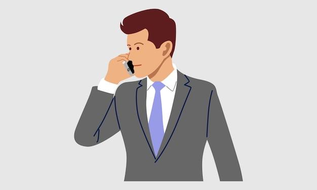 Mężczyzna Rozmawia Przez Telefon Komórkowy Premium Wektorów