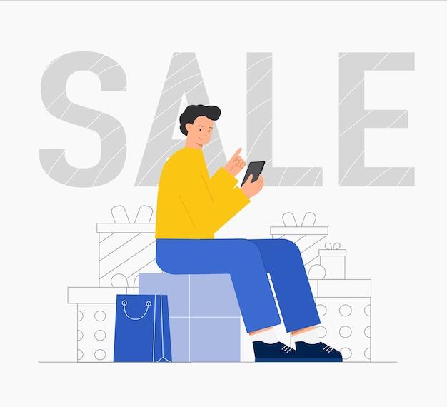 Mężczyzna Siedzący Z Paczkami I Zakupy Online Z Torbą Na Zakupy. Premium Wektorów