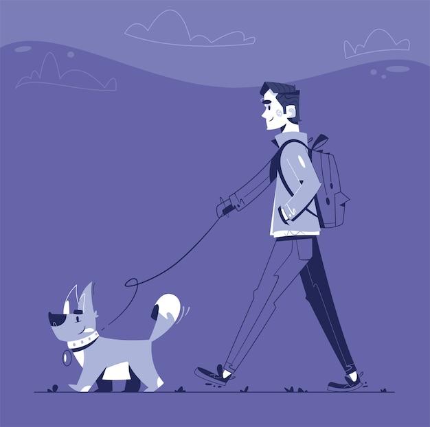 Mężczyzna Spaceruje Z Psem W Nocy. Szczęśliwy Wyprowadzacz Psa. Zabawny Szczeniak Premium Wektorów