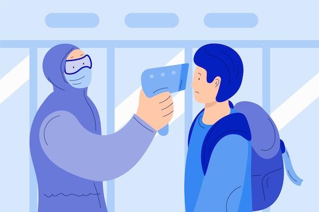 Mężczyzna Sprawdza Temperaturę Ciała Darmowych Wektorów