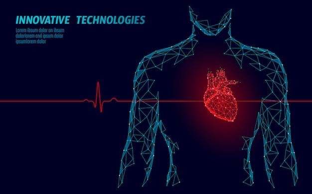 Mężczyzna Sylwetka Zdrowe Serce Bije 3d Medycyna Model Low Poly. Premium Wektorów