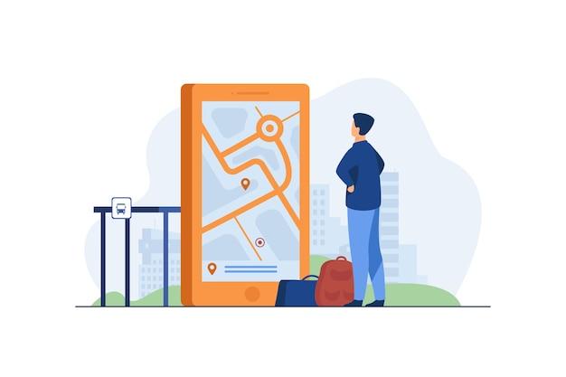 Mężczyzna Szuka Trasy Na Mapie W Aplikacji Mobilnej. Darmowych Wektorów