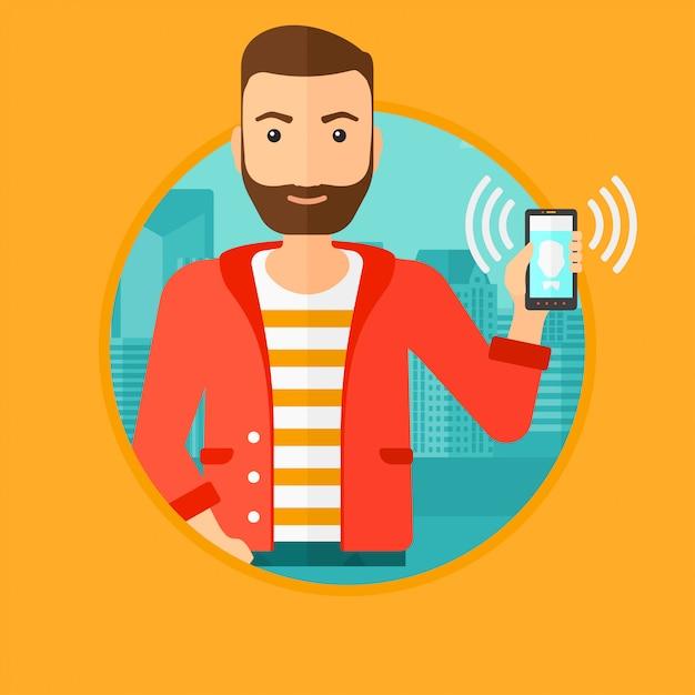 Mężczyzna Trzyma Dzwoniący Telefon Komórkowy. Premium Wektorów