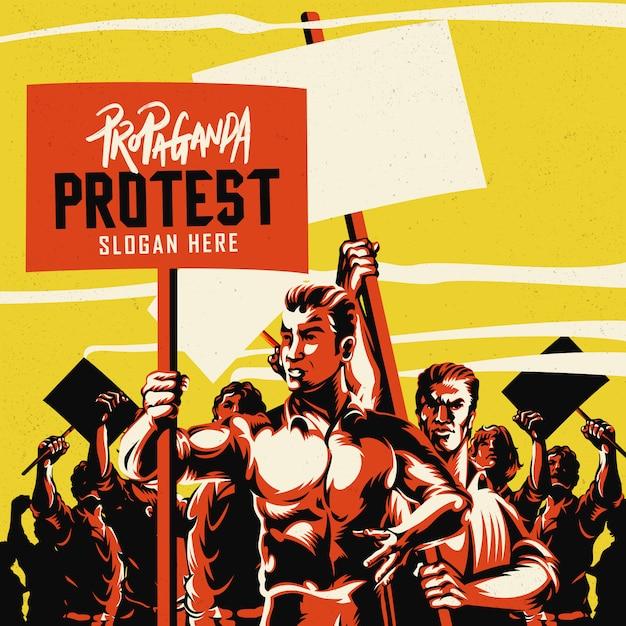 Mężczyzna trzyma plakat z wielkim tłumem ilustraci ludzie Premium Wektorów