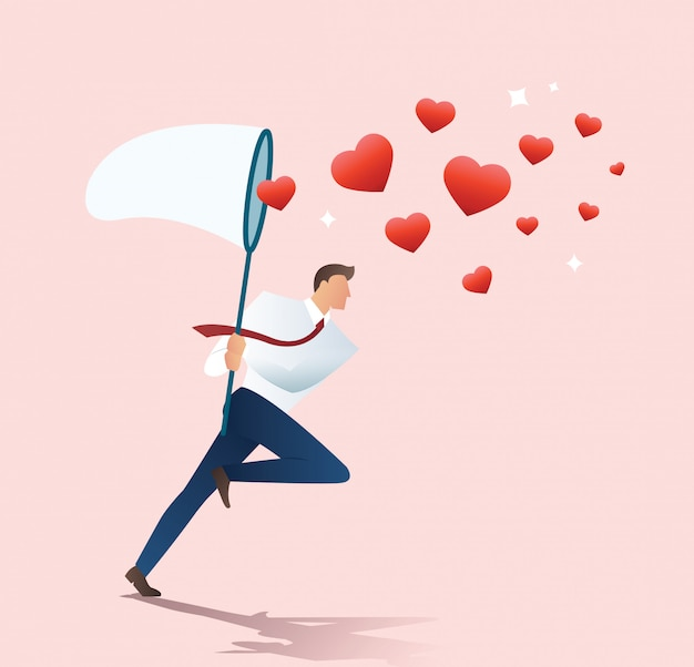 Mężczyzna Trzyma Sieć Motyla Próbuje Złapać Serce Premium Wektorów
