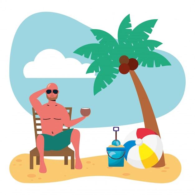 Mężczyzna Ubrany W Strój Kąpielowy Siedzący Na Leżaku, Jedzenie Kokosa Premium Wektorów