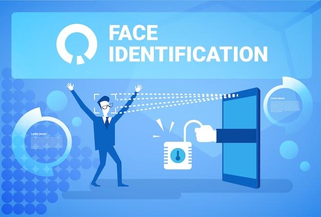 Mężczyzna uzyskiwanie dostępu po identyfikacji twarzy skanowanie koncepcja systemu rozpoznawania nowoczesnej technologii biometrycznej Premium Wektorów