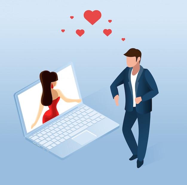 Mężczyzna Używa Aplikacji Randkowej Online Na Notebooku Darmowych Wektorów
