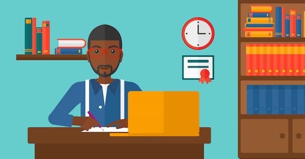 Mężczyzna Używa Laptop Dla Edukaci Premium Wektorów
