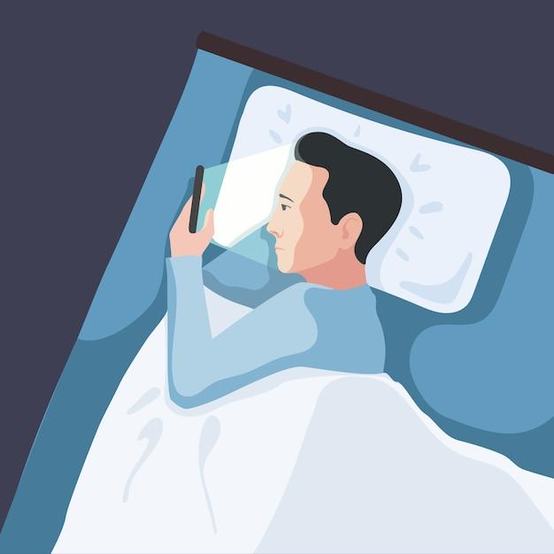 Mężczyzna używa smartphone w łóżku Premium Wektorów