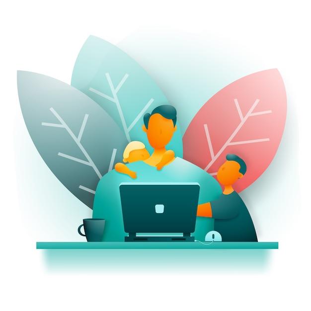 Mężczyzna w domu pracuje przy swoim komputerze. Premium Wektorów