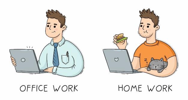 Mężczyzna W Pracy Biurowej I Pracy Domowej Z Laptopem Premium Wektorów