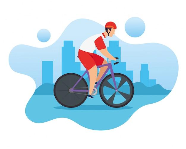 Mężczyzna W Rowerze W Wyścigach O Mistrzostwo Premium Wektorów