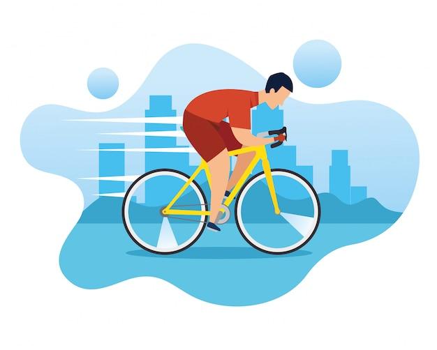 Mężczyzna W Rowerze W Wyścigu O Mistrzostwo Premium Wektorów