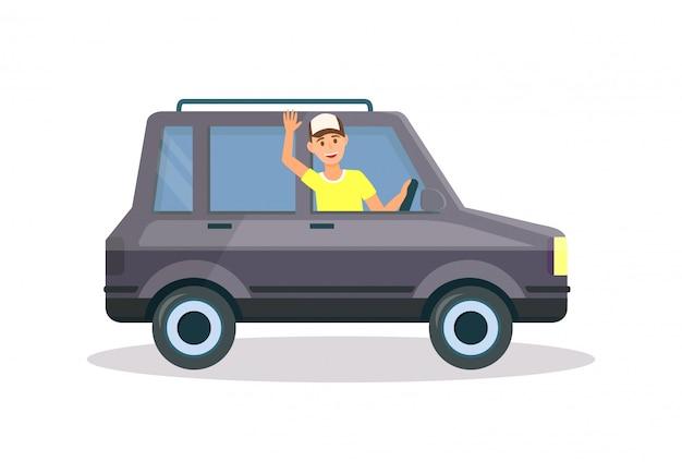 Mężczyzna w żółtej koszulce i czapce jazdy czarnym samochodem Premium Wektorów