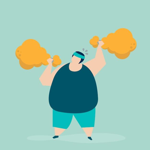 Mężczyzna weightlifting drumstick smażącą kurczaka ilustrację Darmowych Wektorów