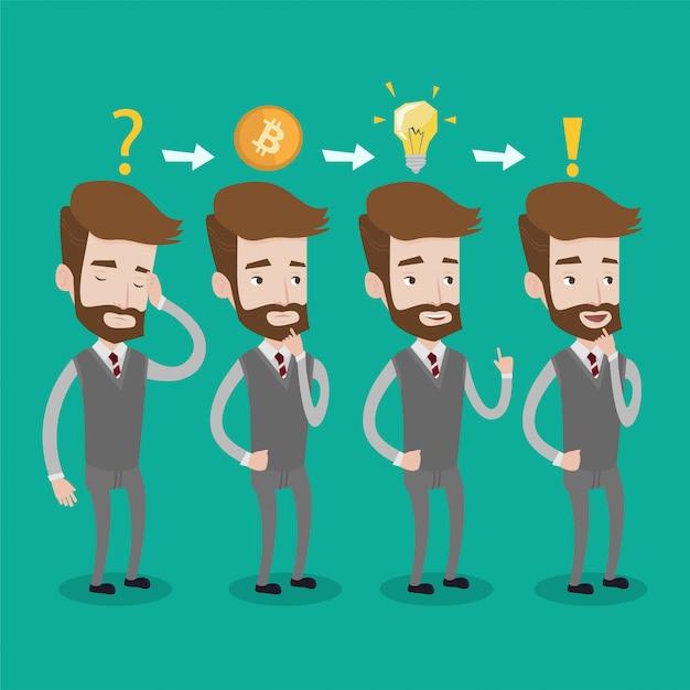 Mężczyzna Wpadł Na Pomysł Projektu Biznesowego Z Kryptowalutą. Premium Wektorów