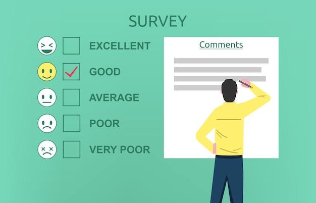 Mężczyzna Wypełnianie Koncepcji Formularza Ankiety Premium Wektorów