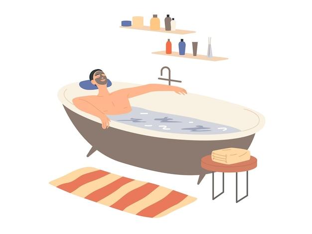 Mężczyzna Z Glinianą Maską Na Twarzy Bierze Kąpiel. Premium Wektorów