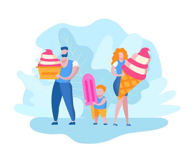 Mężczyzna z kobietą i chłopcem z lodami w ręce Premium Wektorów
