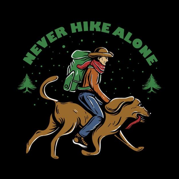 Mężczyzna z plecakiem jedzie psa Premium Wektorów