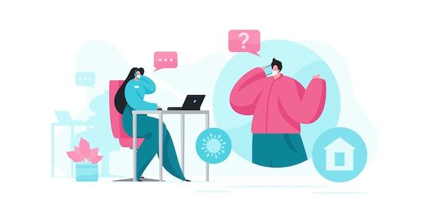 Mężczyzna Zadaje Pytanie W Celu Wsparcia Agenta Podczas Epidemii Premium Wektorów