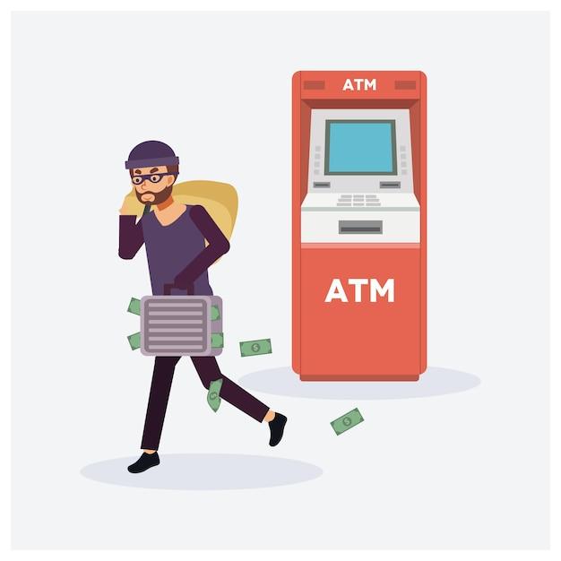 Mężczyzna Złodziej Kradnie Pieniądze Z Bankomatu, Czerwone Bankomaty, Złodziej W Masce. Osoba Przestępcza. Premium Wektorów
