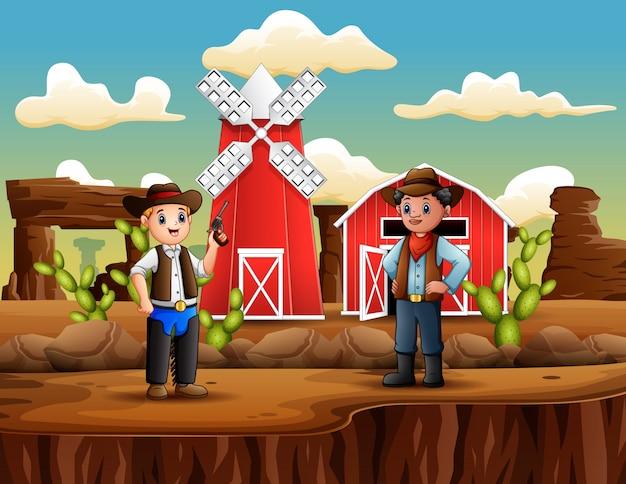 Mężczyzna Złodziej Z Kowbojem W Dzikim Zachodzie Krajobraz Premium Wektorów
