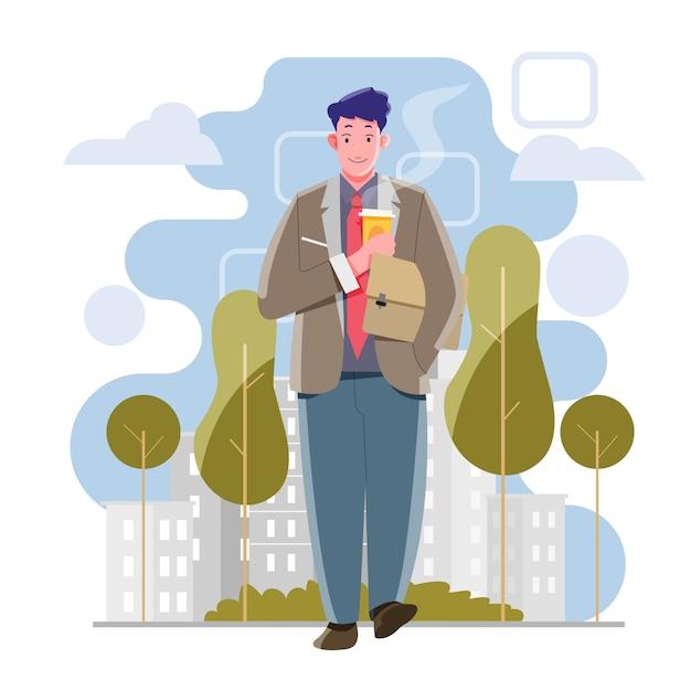 Mężczyznę Idącego Do Biura. Picie Kawy Trzymając Torbę. Wektor I Ilustracja Premium Wektorów