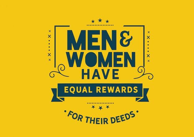 Mężczyźni i kobiety mają równe nagrody za swoje czyny Premium Wektorów