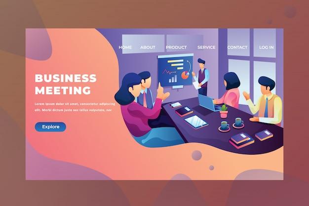 Mężczyźni I Kobiety Omawiają Swój Projekt Spotkania Biznesowego Strona Internetowa Nagłówek Strona Docelowa Premium Wektorów