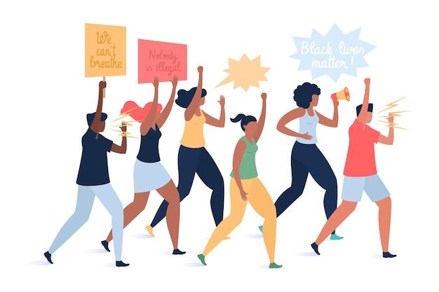 Mężczyźni I Kobiety Protestują Na Ulicach Darmowych Wektorów