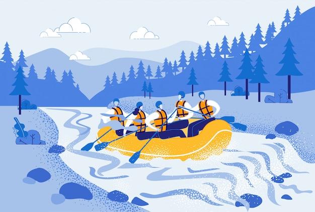 Mężczyźni i kobiety w raftingu w pontonie Premium Wektorów