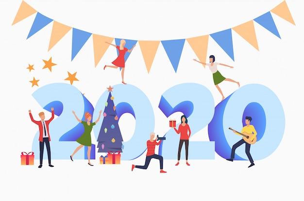 Mężczyźni i kobiety z okazji nowego roku 2020 Darmowych Wektorów