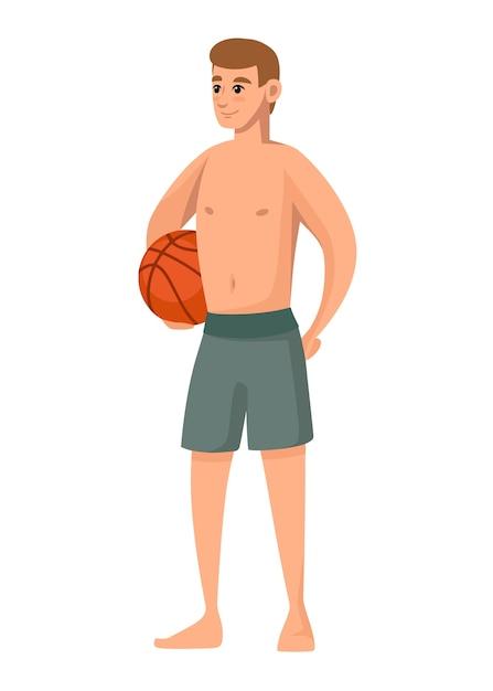 Mężczyźni Noszą Zielony Strój Kąpielowy I Trzymają Piłkę Do Koszykówki Szorty Plażowe Projekt Postaci Z Kreskówek Premium Wektorów