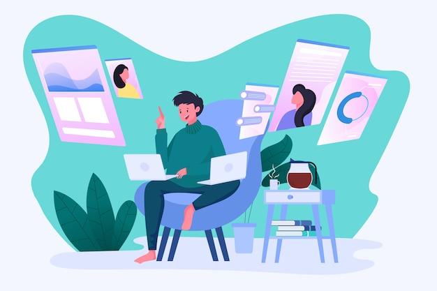 Mężczyźni Pracują Wielozadaniowo Z Laptopami, Siecią Społecznościową, Czatem, Monitorowaniem, Analizą Premium Wektorów