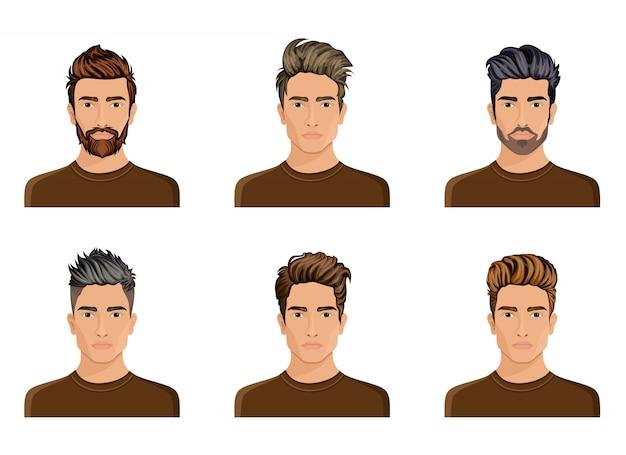Mężczyźni Tworzyli Fryzurę Brody Postaci, Męską Modę Wąsów, Wizerunek, Stylową Twarz Hipstela, Opcje Użycia. Premium Wektorów